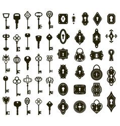 keys and keyholes vintage house door vector image