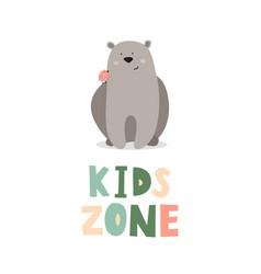 Kid s zone cute bear vector