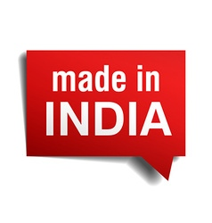 Made in India red 3d realistic speech bubble vector
