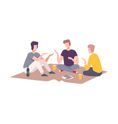 Male friends having picnic in park people vector