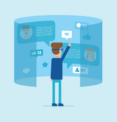 male virtual interaction with people vector image