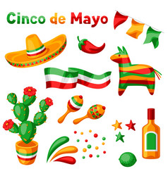 Mexican cinco de mayo set objects vector