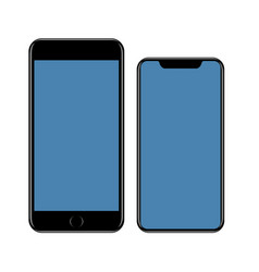 mockup smartphone black cell phone with blue vector image
