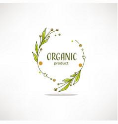 Nature organic bio nature doodle floral leave vector