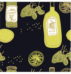 olive oil and capers seamless pattern vector image