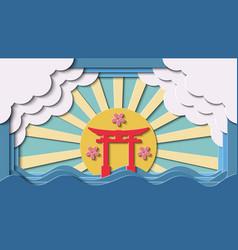 paper cut japanese gate landmark background vector image