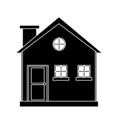 pictogram cottage wooden chimney exterior vector image