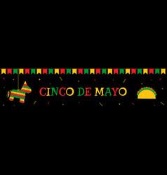 Pinata bunting and taco cinco de mayo web banner vector