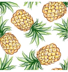 Pineapple watercolor seamless pattern juicy vector