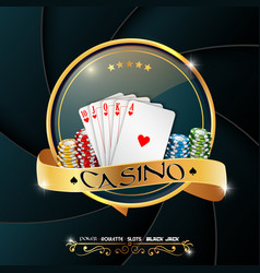 poker casino banner with chips and cards vector image