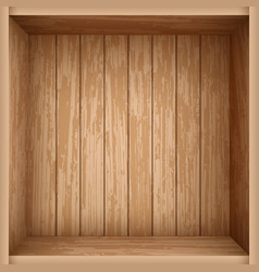 Realistic wooden box with top view empty crate vector