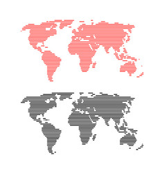 Red and black line world maps vector