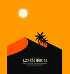 Retro vintage desert landscape poster background vector
