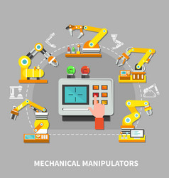 robotic arm composition vector image
