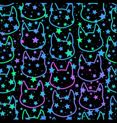 seamless pattern bright cat silhouettes vector image