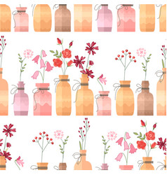 Seamless pattern with small vintage bottles vector