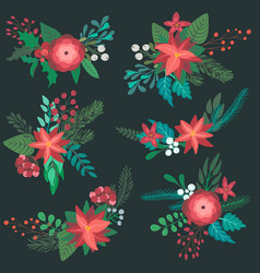 set of colorful christmas floral bouquets with vector image