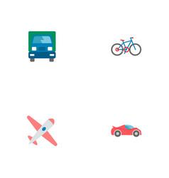 set of vehicle icons flat style symbols with bike vector image