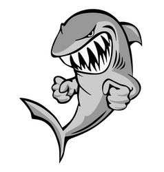 shark jumping with big grin and fists cartoon vector image
