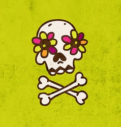 Skull and Bones with Floral Element Cartoon vector