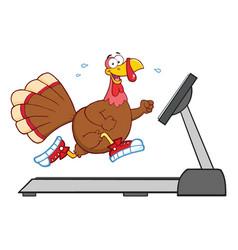 Smiling turkey cartoon character running vector