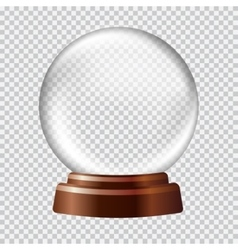 Snow globe Big white transparent glass sphere on vector