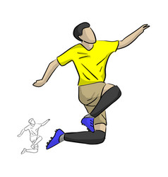soccer player jumping for celebrating his goal vector image