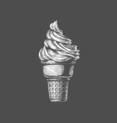 soft serve ice cream in a cone vector image