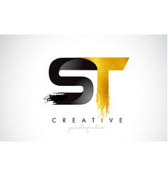 St letter design with brush stroke and modern 3d vector