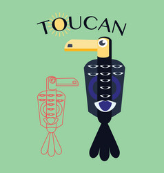 stylish flat design toucan icon vector image
