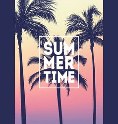 summer tropical background with palms sky vector image