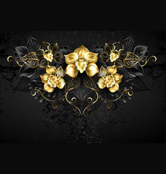 symmetrical pattern with black orchids vector image