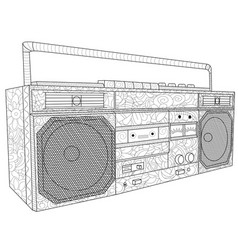 Tape deck or tape machine antistress coloring vector