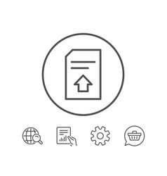 Upload document line icon file sign vector