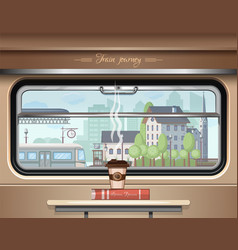 View of the railway station from the train window vector