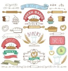 Vintage Bakery Labels elementsHand sketched vector image