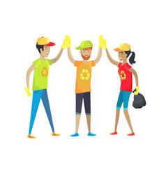 Volunteers happy high-five vector
