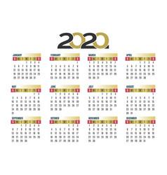 wall calendar 2020 vector image