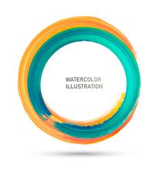 watercolor color circle texture ink round stroke vector image