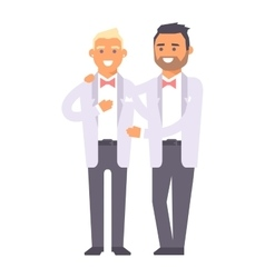 Wedding gay couples characters vector