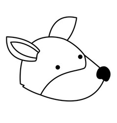 wolf cartoon head in monochrome silhouette vector image