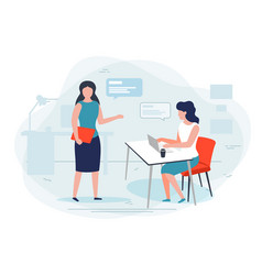 women in office working chat vector image