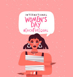 Womens day each for equal 8 march card vector
