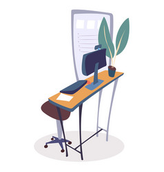 workplace design table at office with computer vector image