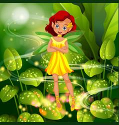 Yellow fairy flying in garden vector