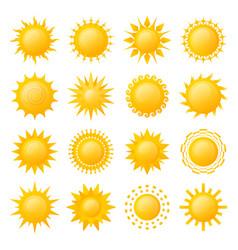yellow sun icon set image vector image