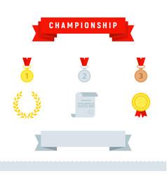 award icons championship set flat design style vector image