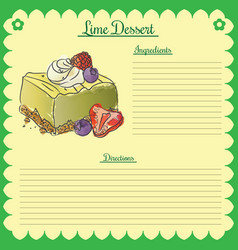 recipe lime cupcake vector image vector image