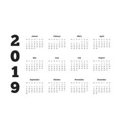 Simple calendar on 2019 year in german language vector image vector image
