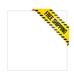 Yellow caution tape with words free shipping vector